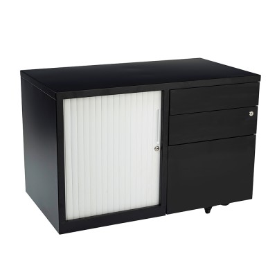 Bo Mobile CADDIE 900 wide Satin white/white tambour and Black Satin/white tambour door