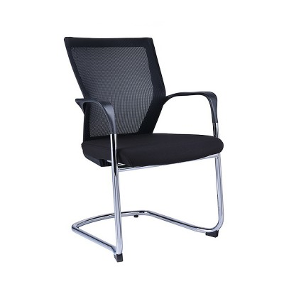 Tom Sled base chair black mesh/black fabric